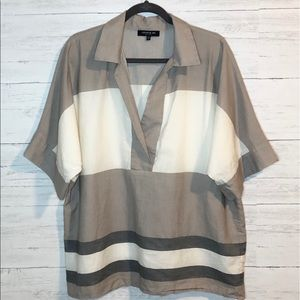 Lafayette 148 lightweight color block blouse